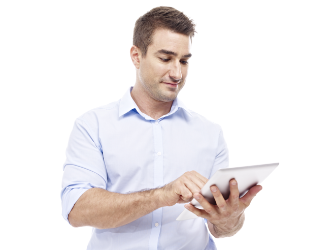 Smiling man looking at tablet.