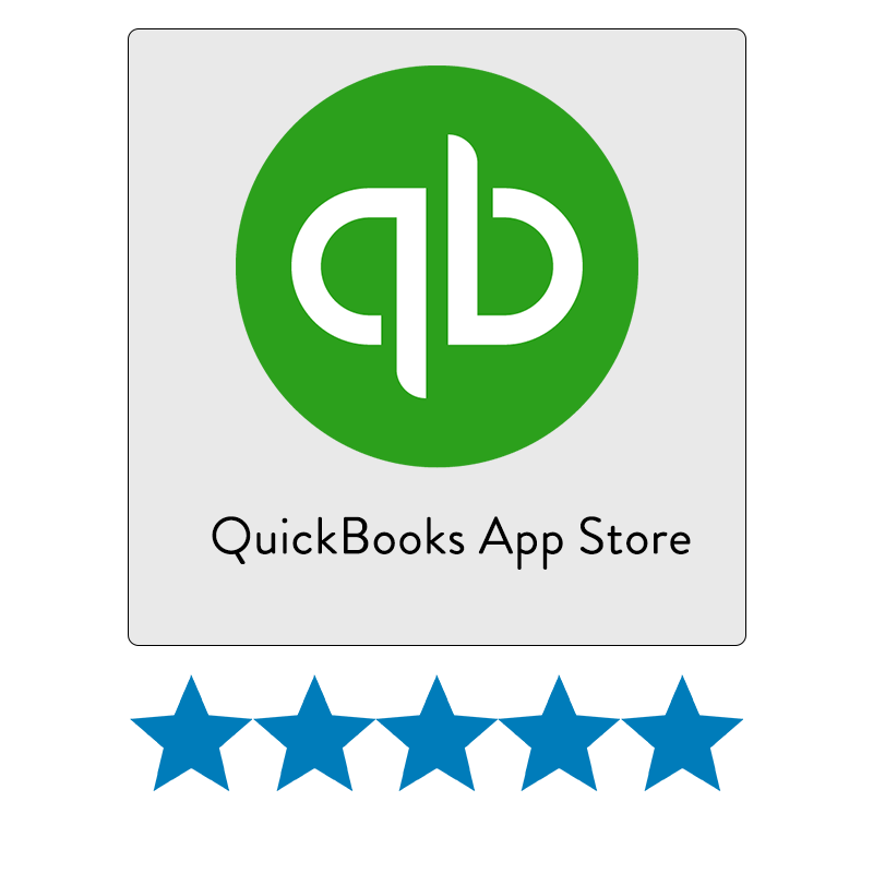 QuickBooks App Store icon and rating.