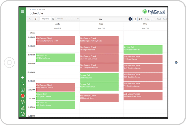 Scheduling tool in the FieldCentral app.